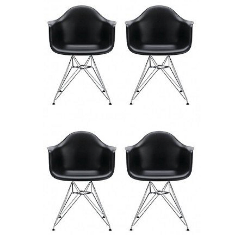 Set of 4 Eiffel Tub Chair Metal Black