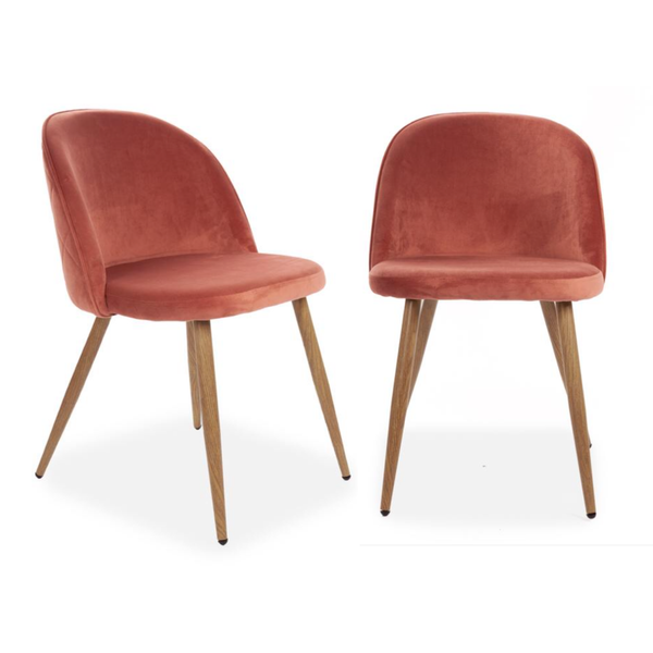 Set of 2 Velvet Curved Dining Chairs Rose