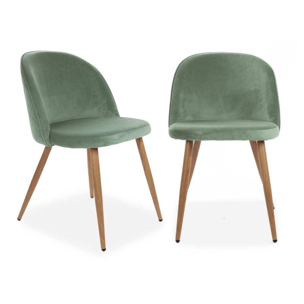 Set of 2 Velvet Curved Dining Chairs Mint