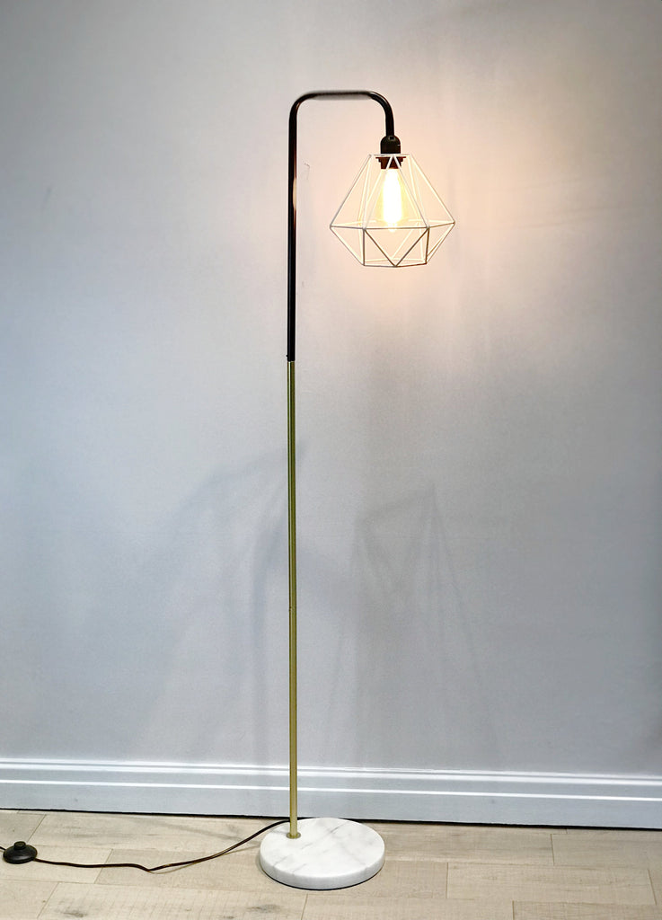 Marble Pipe Floor Lamp Gold White