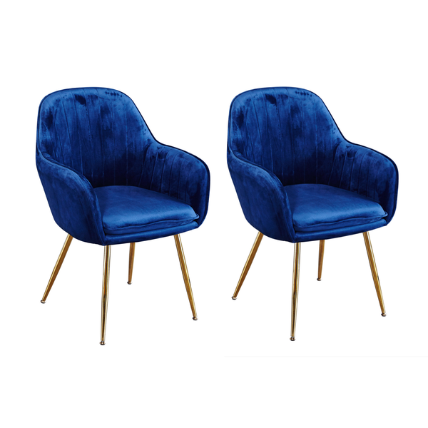 Set of 2 Rococo Velvet Chairs Blue
