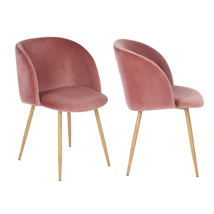 Set of 2 Mid-Century Velvet Chair Rose