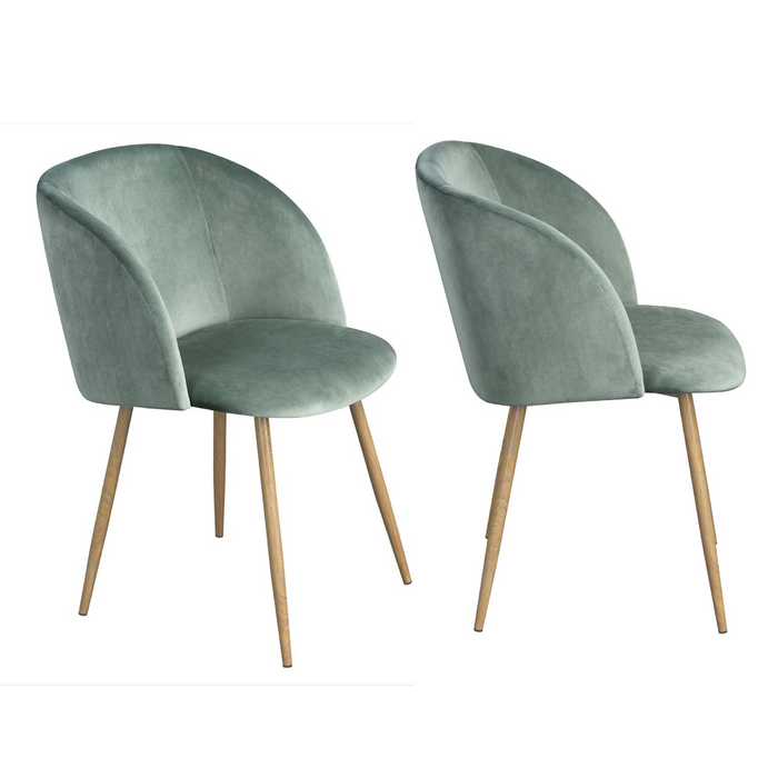 Set of 2 Mid-Century Velvet Chair Mint