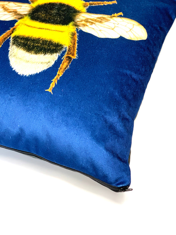 Handmade Velvet Bee Cushion Navy