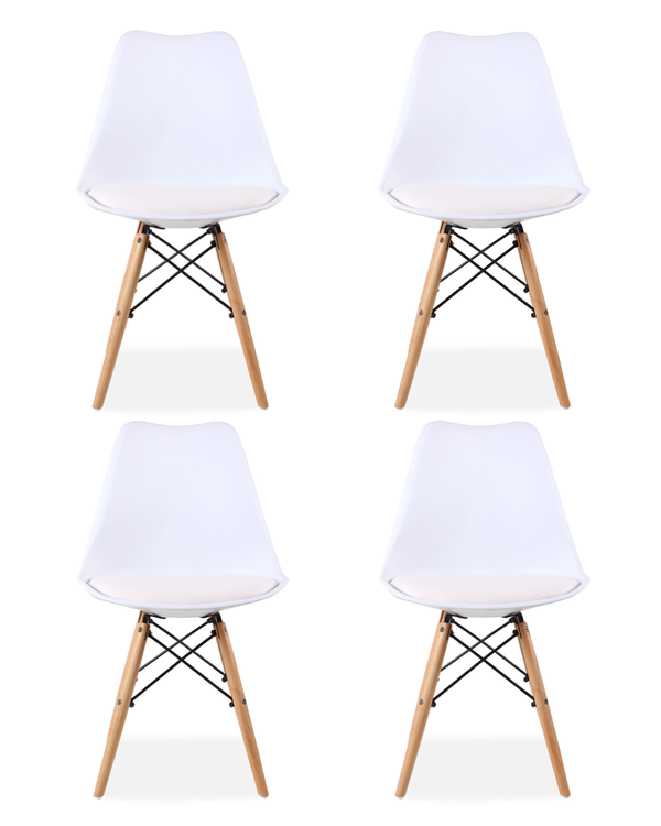 Set of 2 Eames Style Chairs White Cushioned
