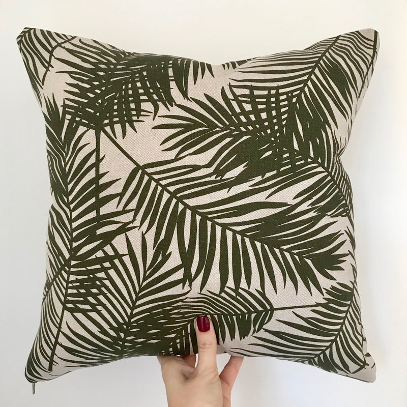 Handmade Tropical Cushion Olive