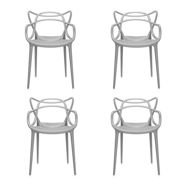 Set of 4 Masters Style Chair Grey