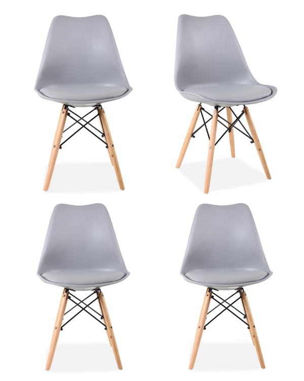 Set of 4 Eames Style Chairs Light Grey Cushioned