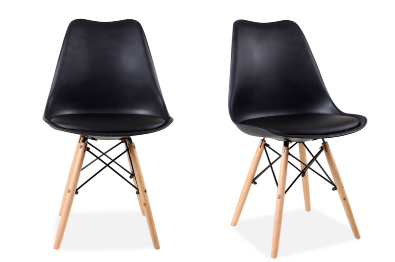 Set of 4 Eames Style Chairs Black Cushioned