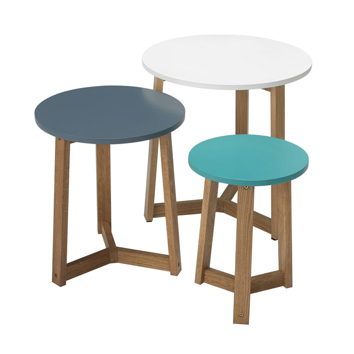 Set of 3 Scandi Pastel Nest Side Tables
