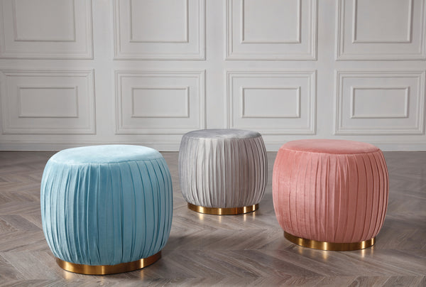 Margot Velvet Pleated Pouffe