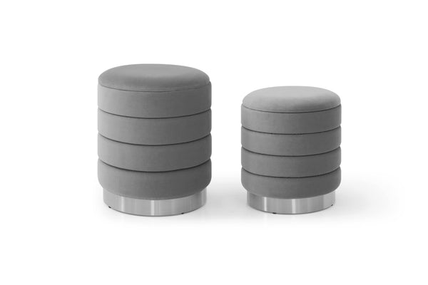 Set of 2 Merlin Velvet Storage Pouffes Grey S/L