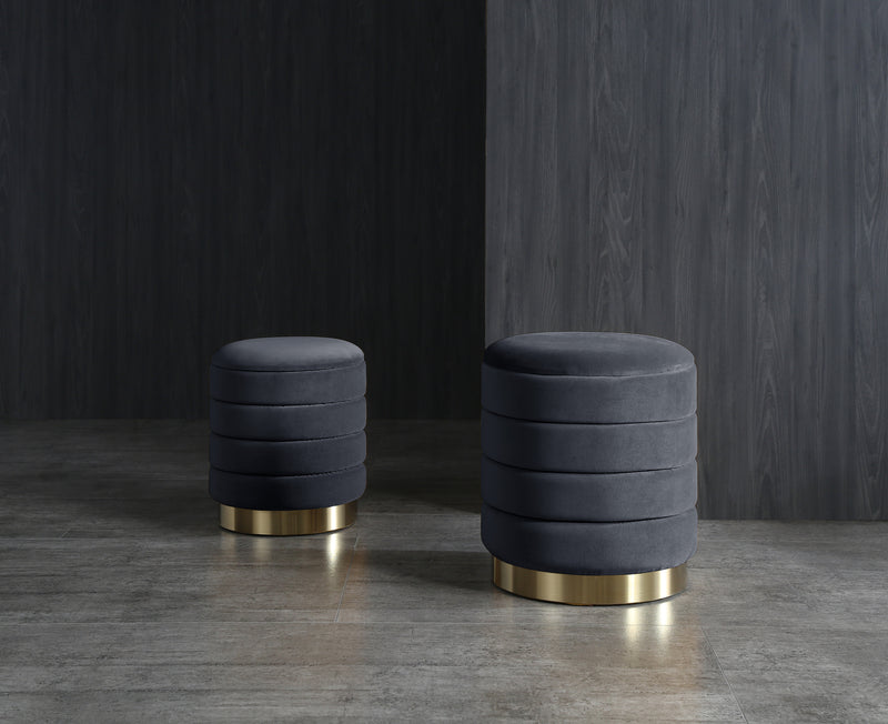 Set of 2 Merlin Velvet Storage Pouffes Navy S/L
