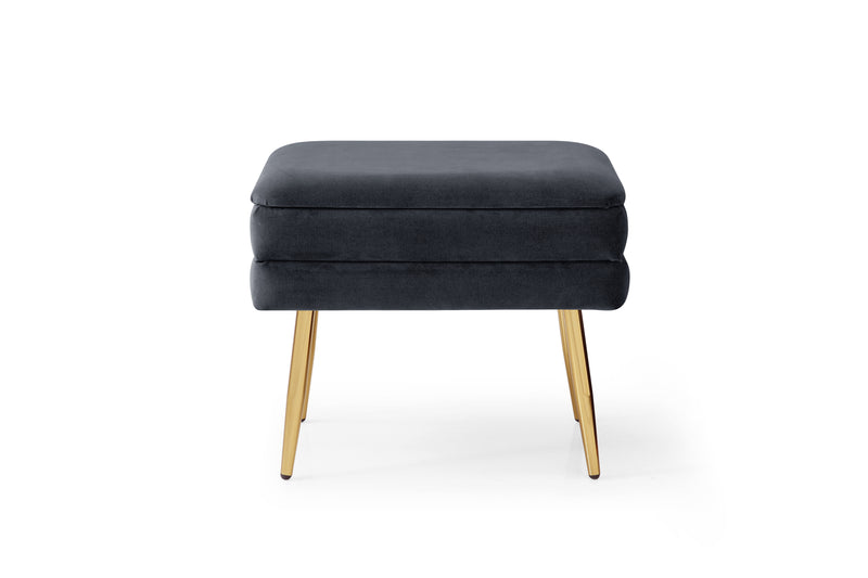 Set of 2 Eric Velvet Storage Pouffes Navy