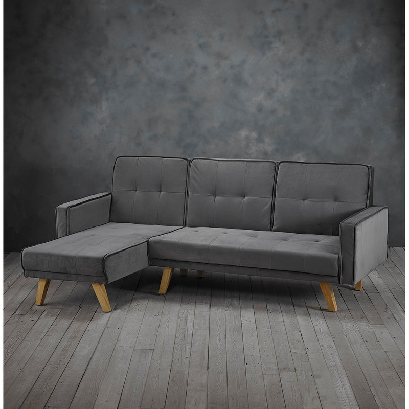 Otis Velvet Corner Sofa Bed Left/Right Handed Grey