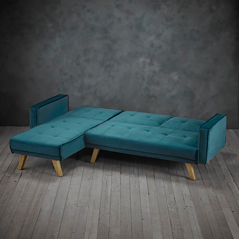 Otis Velvet Corner Sofa Bed Left/Right Handed Teal