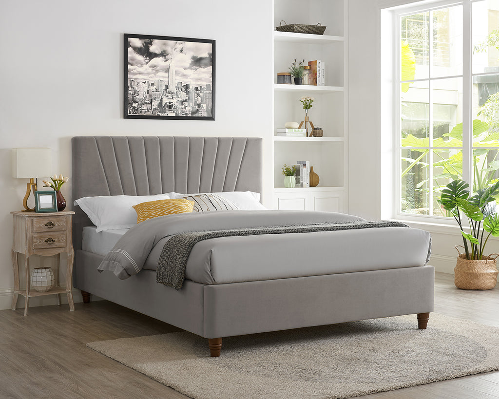 Raya Velvet Bed Warm Grey