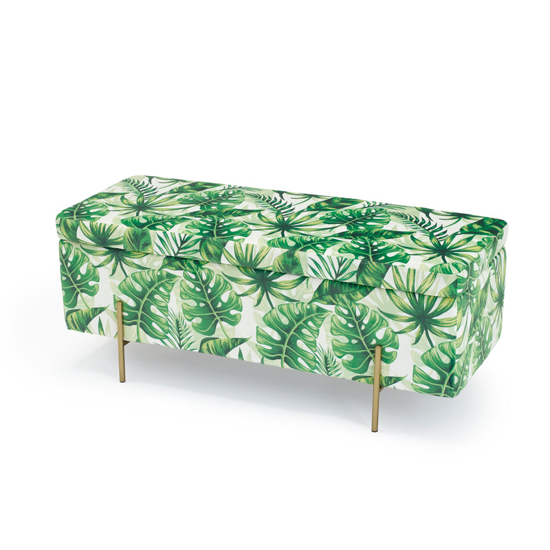 Pip Velvet Storage Ottoman Tropical