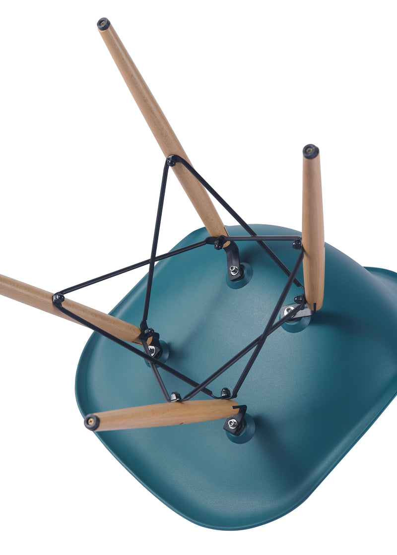 Eames Style Wooden Chair Teal