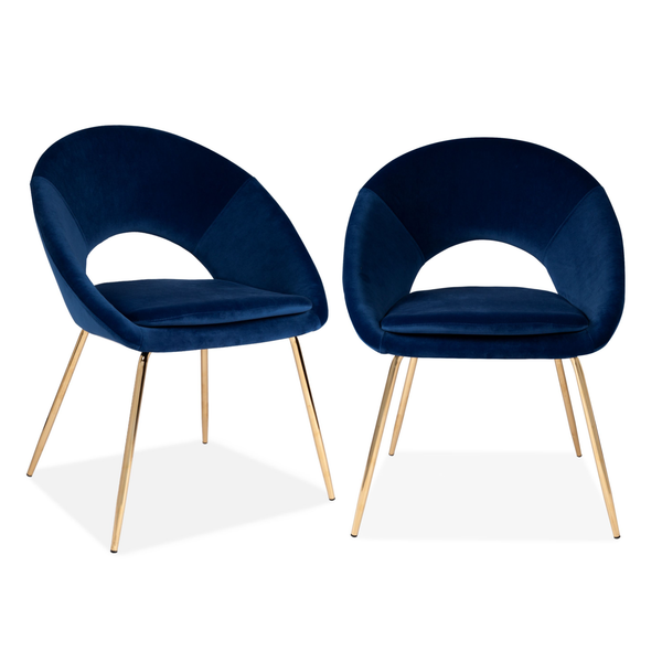 Set of 2 Velvet Chestnut Curl Chair Navy & Gold Legs