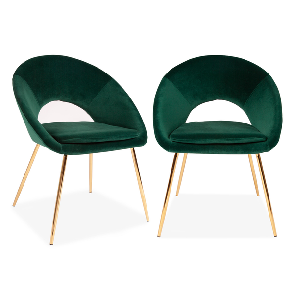Set of 2 Velvet Chestnut Curl Chair Green & Gold Legs