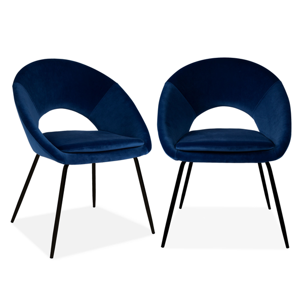 Set of 2 Velvet Chestnut Curl Chair Navy & Black Legs