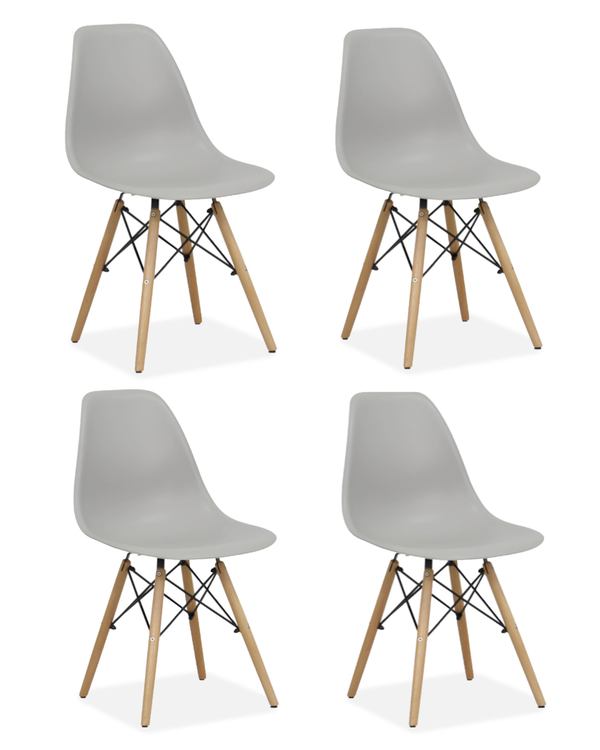 Set of 4 Eames Style Wood Chairs Light Grey
