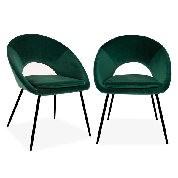 Set of 2 Velvet Chestnut Curl Chair Green & Black Legs