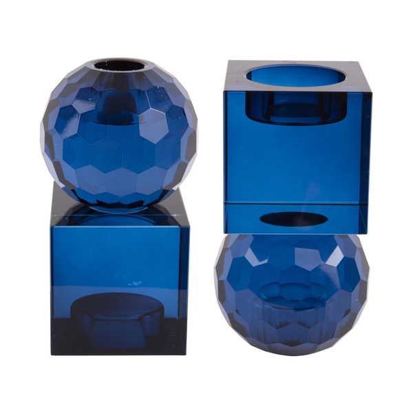 Double Ended Glass Candle Holder Blue