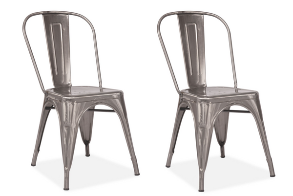 Set of 2 Tolix Style Chair Ash