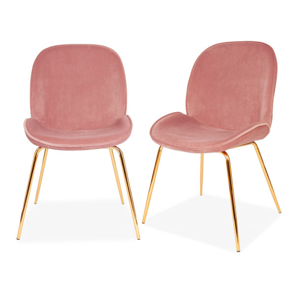 Set of 2 Velvet Clam Chairs Gold & Blush