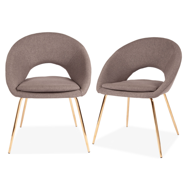 Set of 2 Linen Chestnut Curl Chair Grey & Gold Legs