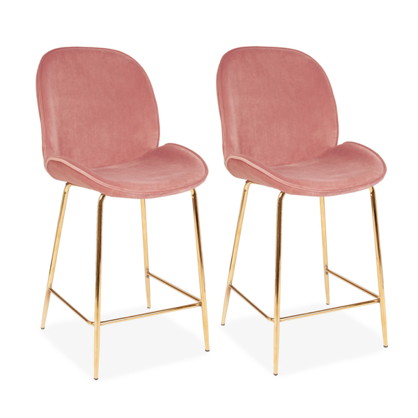 Set of 2 Velvet Clam Bar Stools Gold & Blush