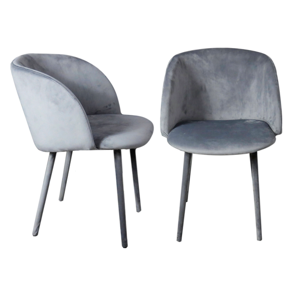 Set of 2 Mid-Century Chairs Grey All Velvet