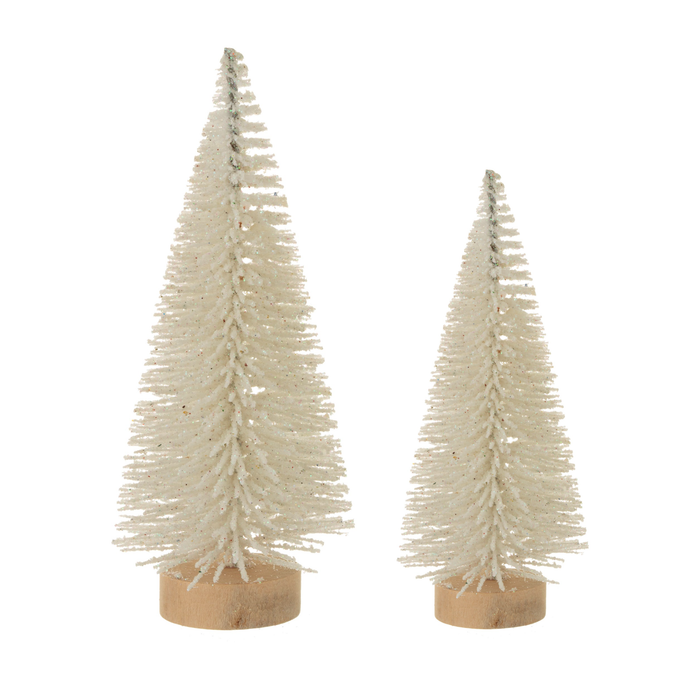 Set of 2 Snowy Christmas Trees