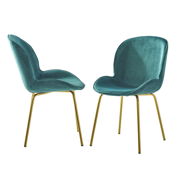 Set of 2 Velvet Clam Chair Gold & Emerald