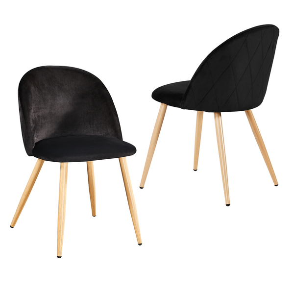 Set of 2 Velvet Curved Dining Chairs Black