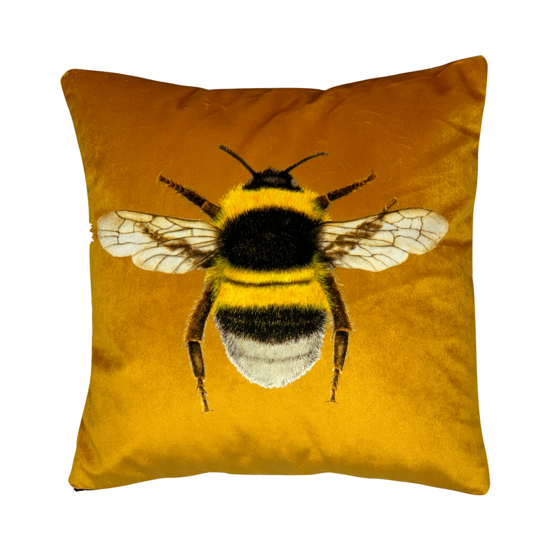 Handmade Velvet Bee Cushion Gold