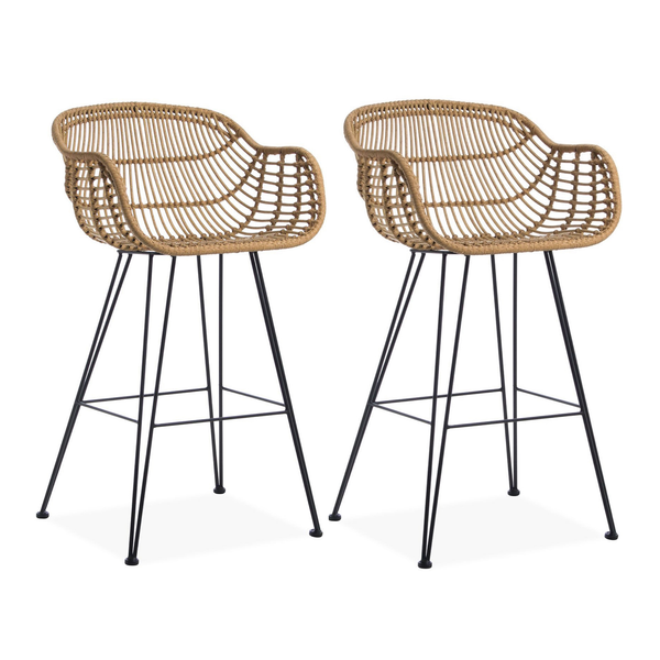 Set of 2 Rattan Tub Bar Stools