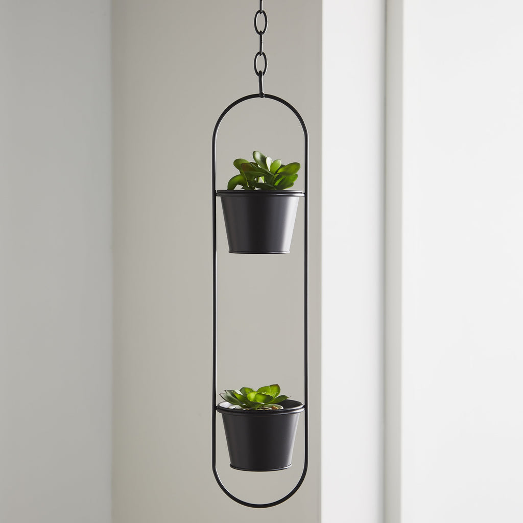 Dual Hanging Planter Black