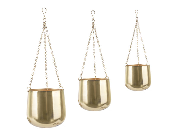 Set of 3 Hanging Gold Planters