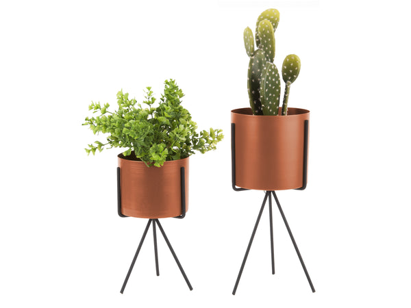 Set of 2 Pedestal Planters Chestnut