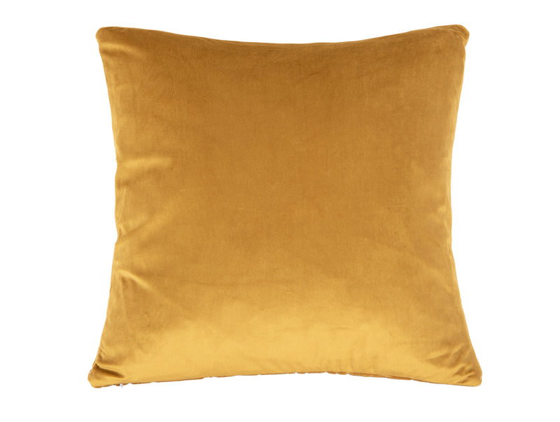 Mustard Leaf Velvet Cushion