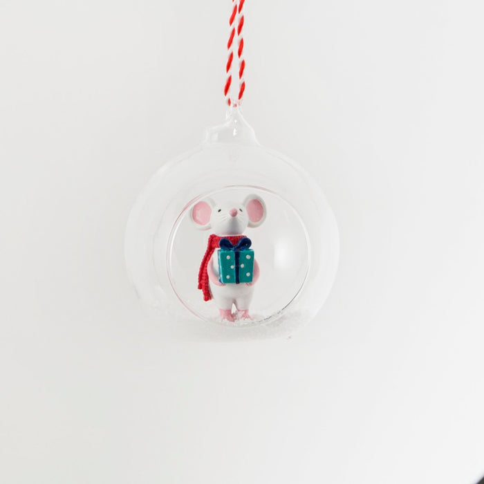 Mouse with Gift Bauble Decoration