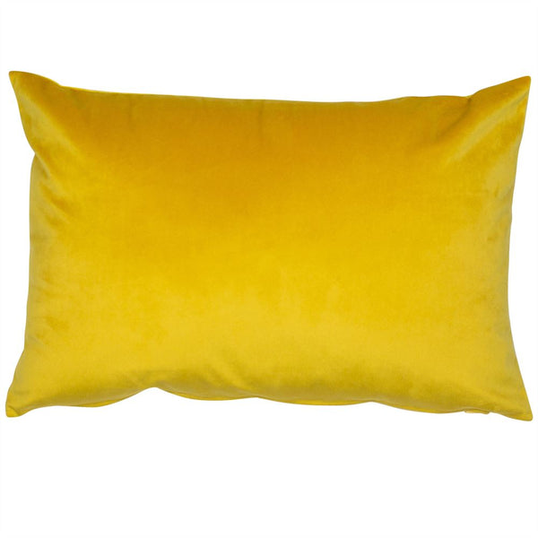 Mustard Velvet Cushion Rectangular Filled