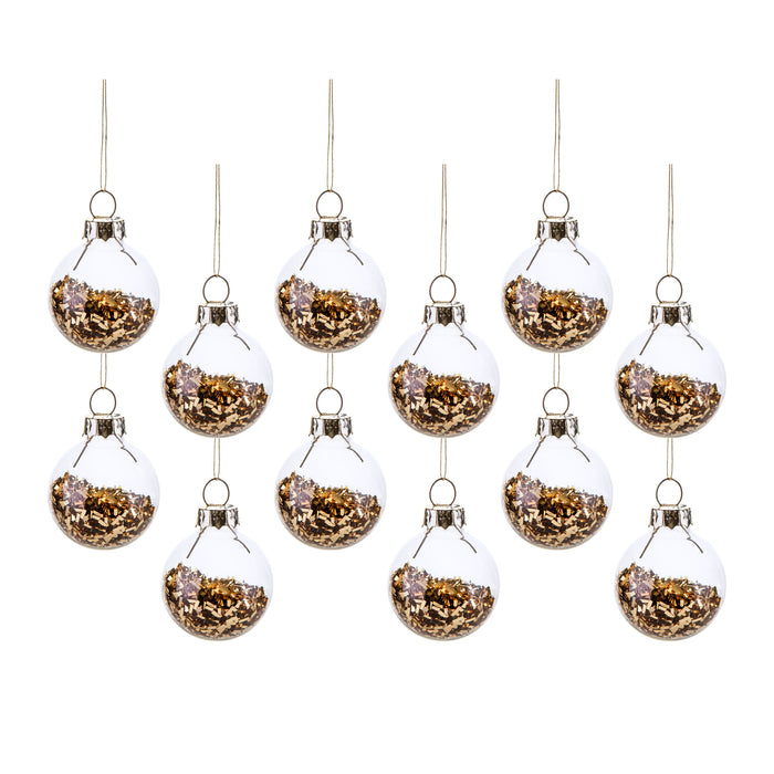Set of 12 Gold Glitter Baubles