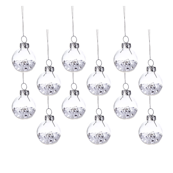 Set of 12 Snow Glitter Baubles