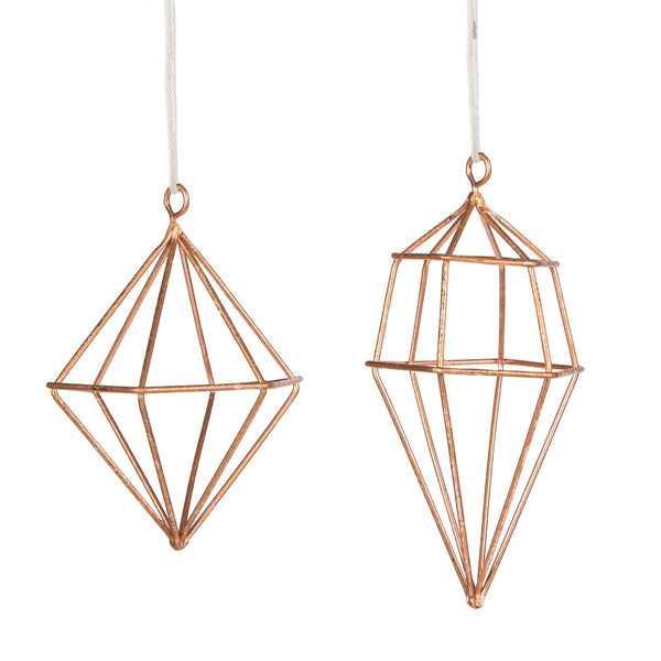 Set of 2 Copper Geometric Decorations