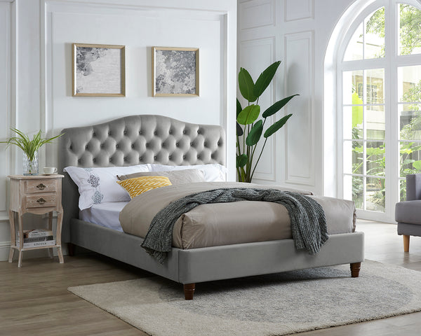 Nola Velvet Bed Grey