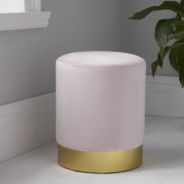 Velvet Stool Blush/Gold Trim